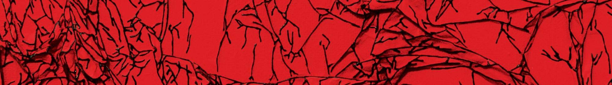 Arbre de vie rouge / noir - détail - 30 x 30 cm - technique mixte - © Annie Thérie