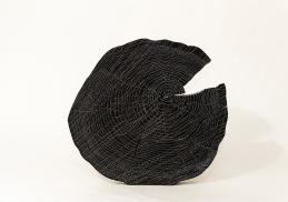 Ligne de fuite - N&B n°65 - 28 x 30 cm - acrylique sur pin - © Annie Thérie