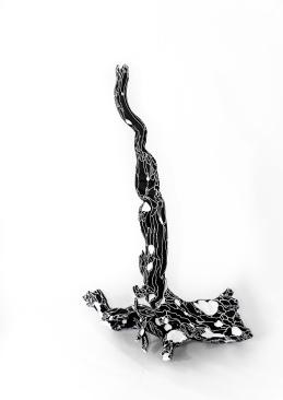 N&B n°35 - 39 x 37 cm - acrylique sur bois flotté - © Annie Thérie