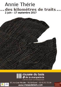 Affiche annie therie des kilometres de traits Musée du bois et de la marqueterie revel 2017
