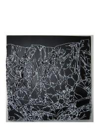 Arbre de vie noir / blanc - 30 x 30 cm - technique mixte - © Annie Thérie