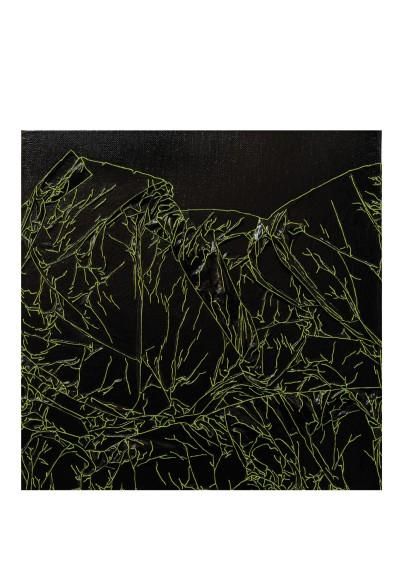 Arbre de vie noir / vert - 30 x 30 cm - technique mixte - © Annie Thérie