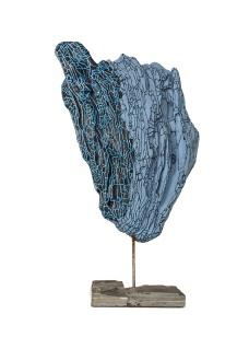 Corail Blue - 48 x 24 cm - acrylique sur bois flotté - © Annie Thérie