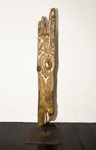 Piton Doré - 156 x 40 x 40 cm -acrylique sur bois flotté - © Annie Thérie
