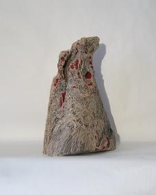 Piton Rouge - 35 x 22 cm - acylique sur bois flotté - © Annie Thérie
